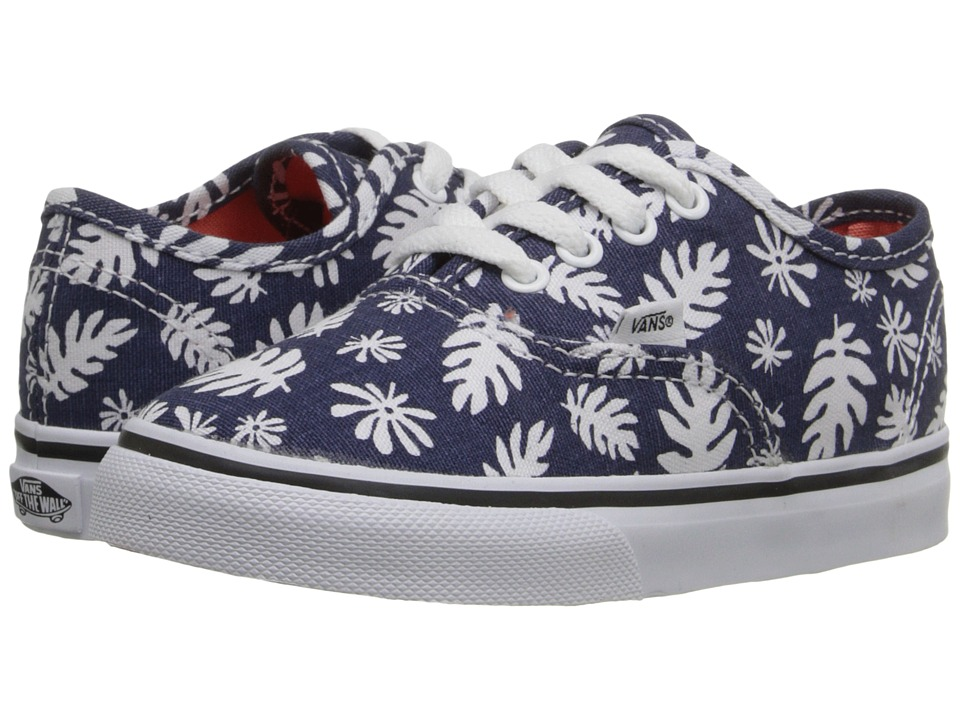 Vans Kids - Authentic (Toddler) ((Washed Kelp) Navy/White) Girls Shoes