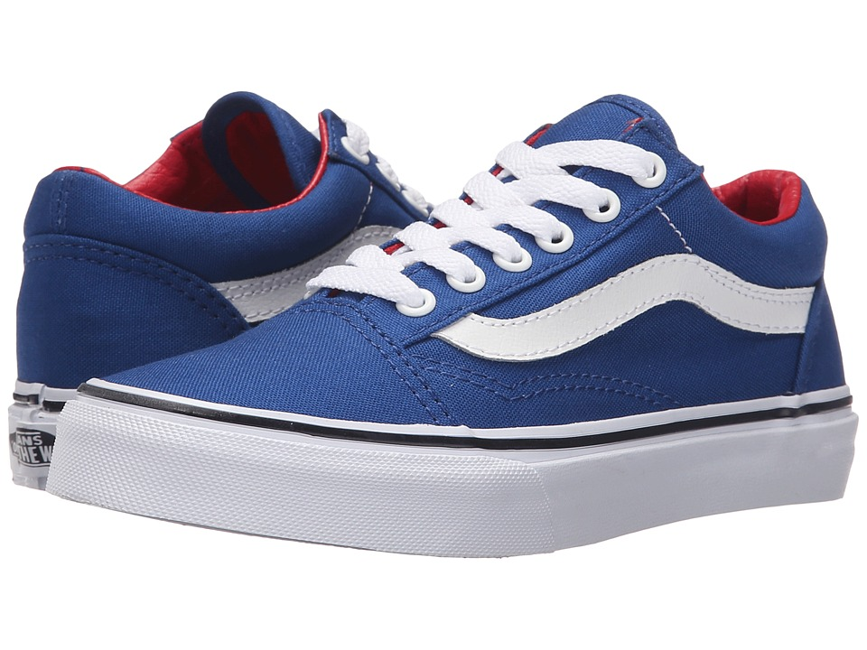 Vans Kids - Old Skool (Little Kid/Big Kid) ((Canvas) True Blue/Racing Red) Boys Shoes