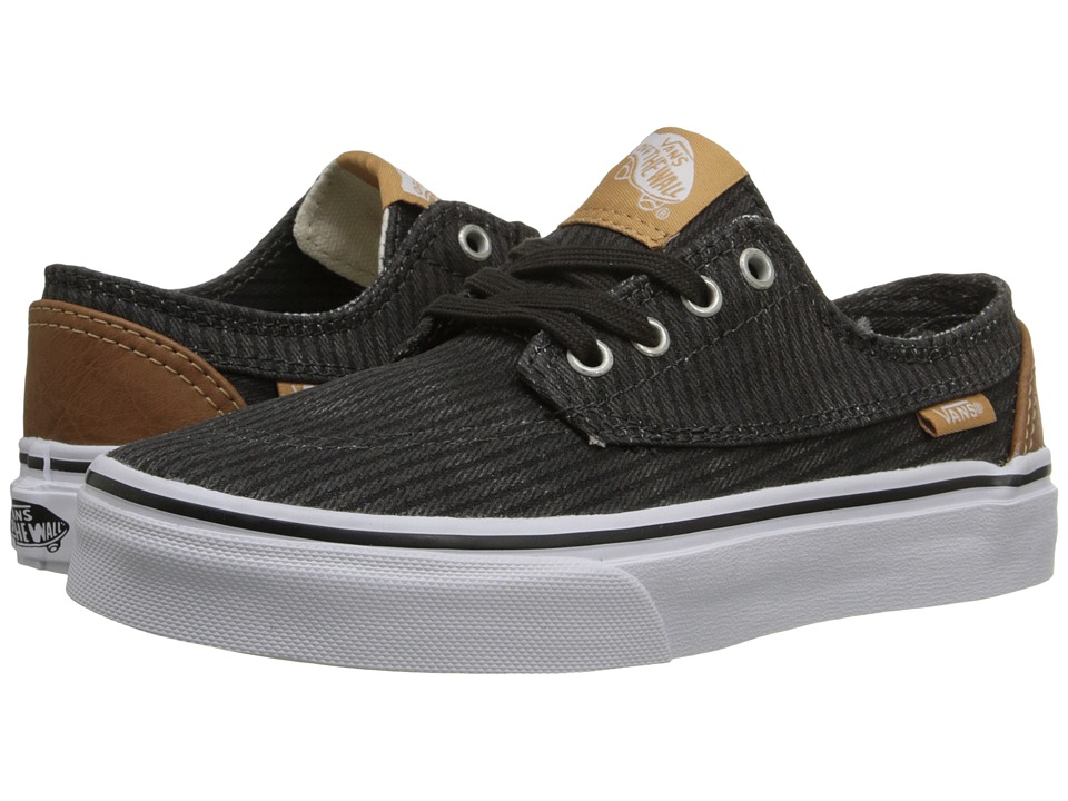 Vans Kids - Brigata (Little Kid/Big Kid) ((Washed Herringbone) Jet Black) Boys Shoes