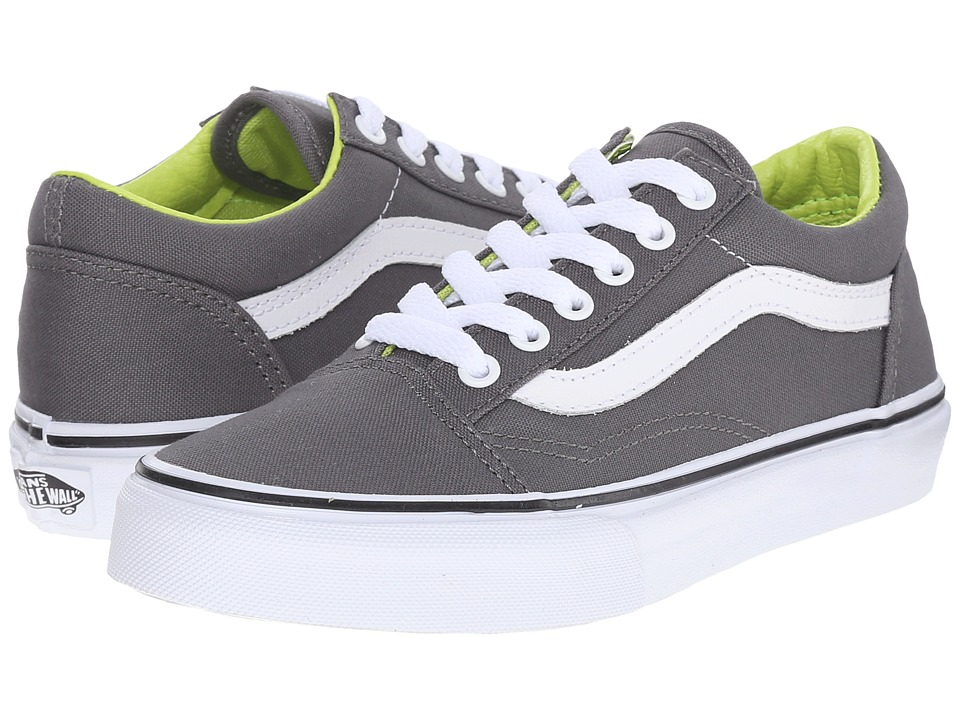 Vans Kids - Old Skool (Little Kid/Big Kid) ((Canvas) Pewter/Lime Punch) Boys Shoes