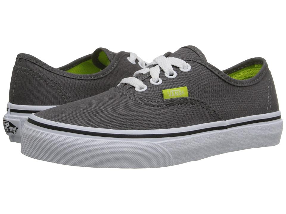 Vans Kids - Authentic (Little Kid/Big Kid) ((Pop) Pewter/Lime Punch) Boys Shoes