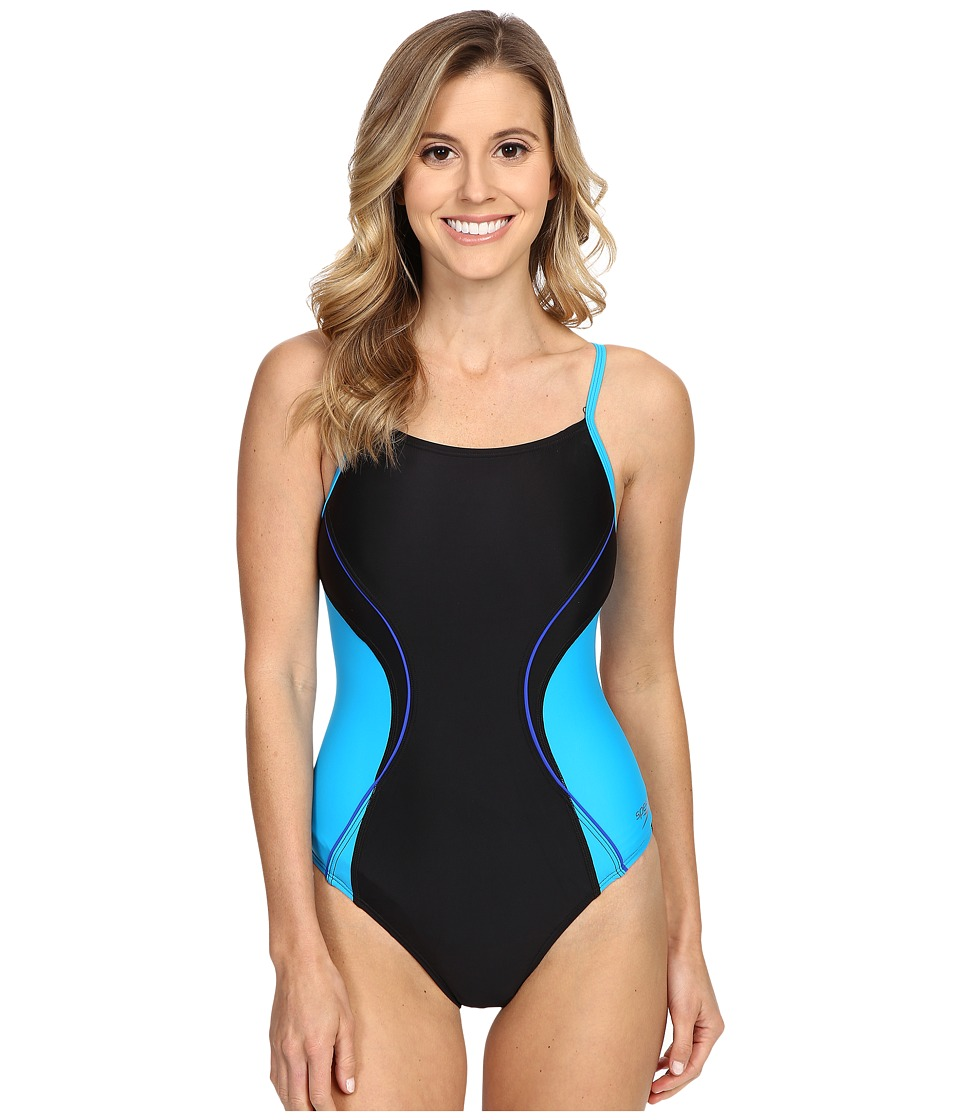 Speedo - Revolve Splice Energy Back One-Piece (Black/Blue) Women's Swimsuits One Piece