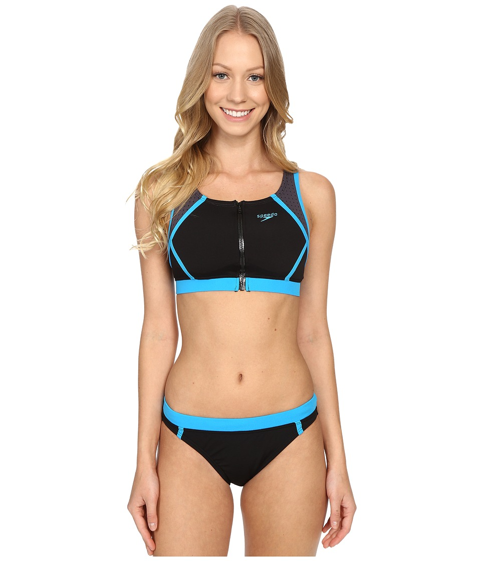 Speedo - Perforated Two-Piece Set (Speedo Black) Women's Swimwear Sets