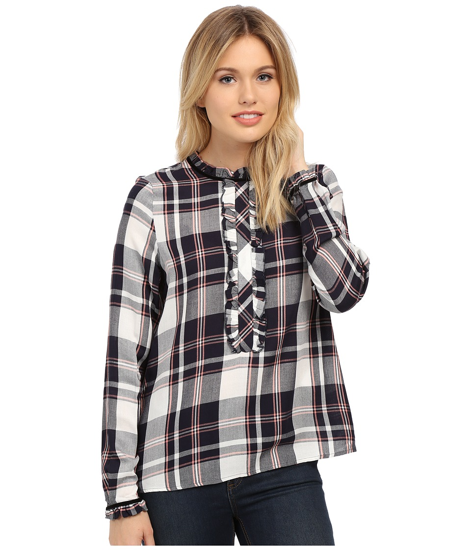 ONLY - Inez Plaid Frill Shirt (Night Sky) Women's Blouse