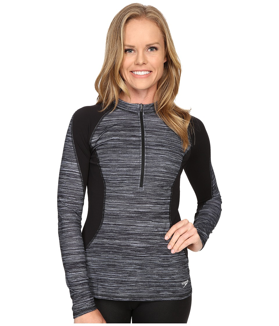 Speedo - Texture Half Zip Rashguard (Speedo Black) Women's Swimwear