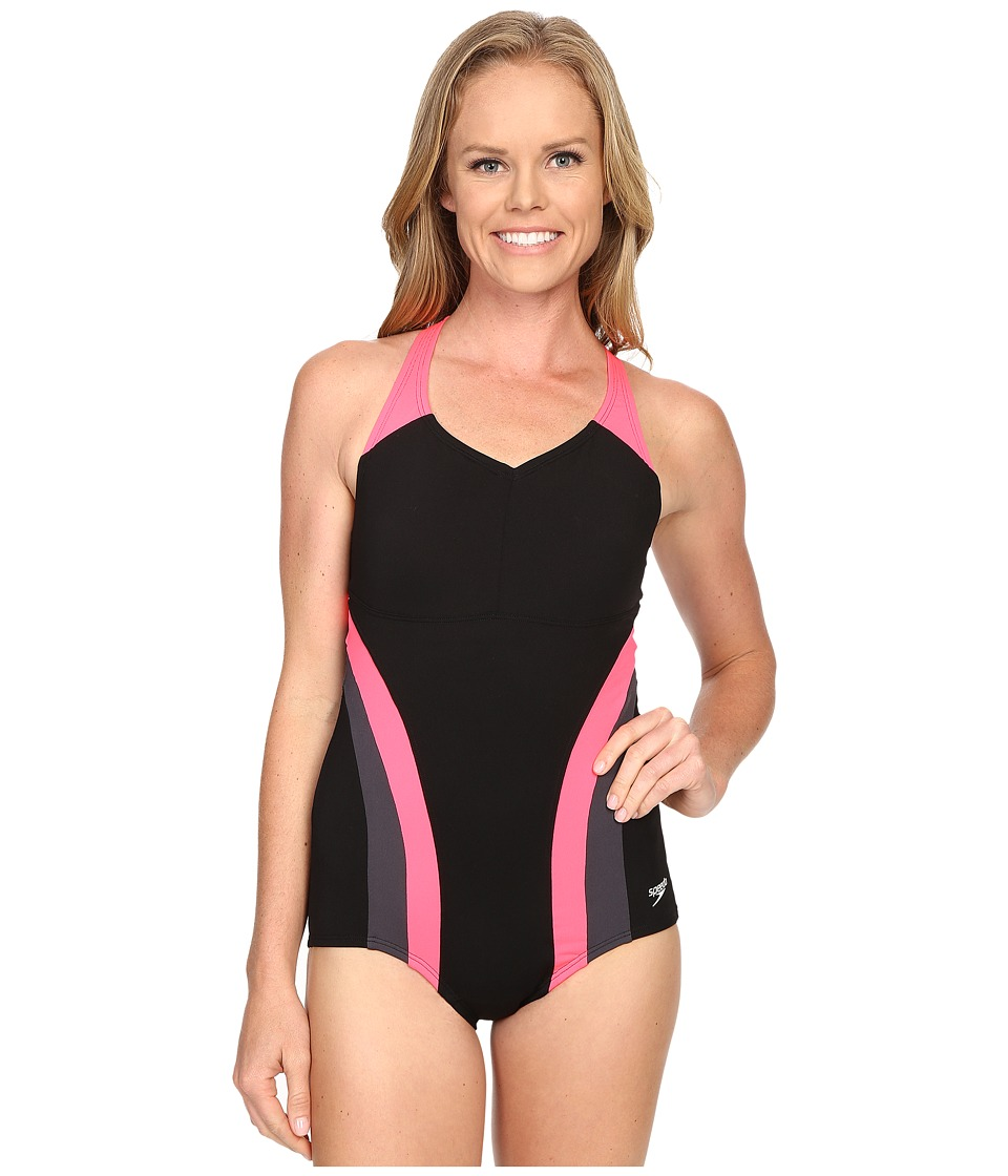 Speedo - Flow Active One-Piece (Party Pink) Women's Swimsuits One Piece