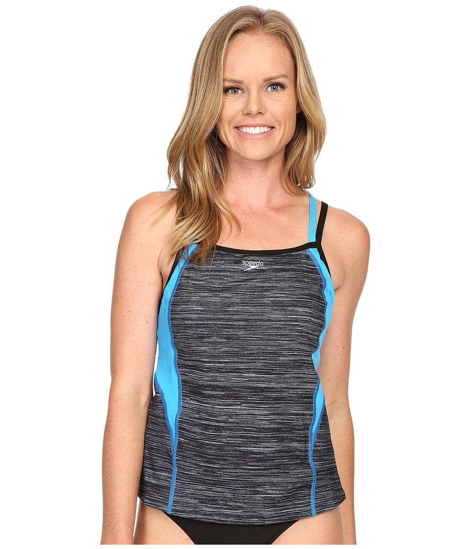 Speedo - Texture Double Strap Tankini Top (Speedo Black) Women's Swimwear