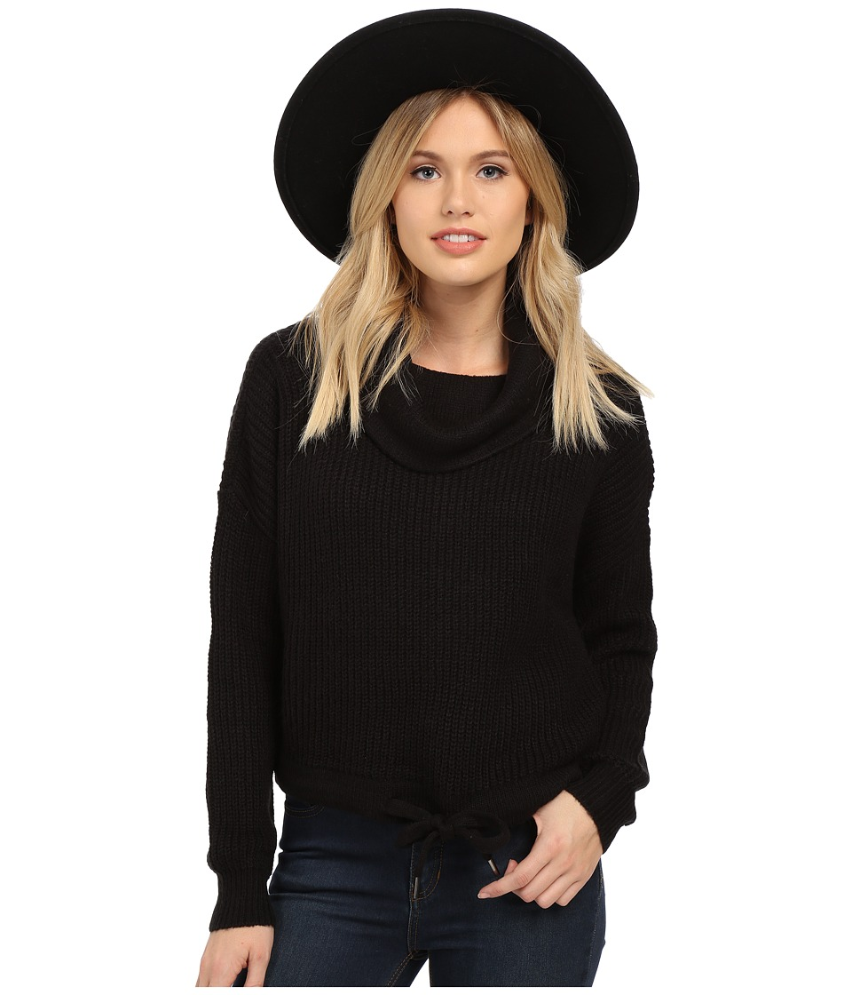 ONLY - Nia Knit Pullover Sweater with Drawstring Waist (Black) Women's Long Sleeve Pullover