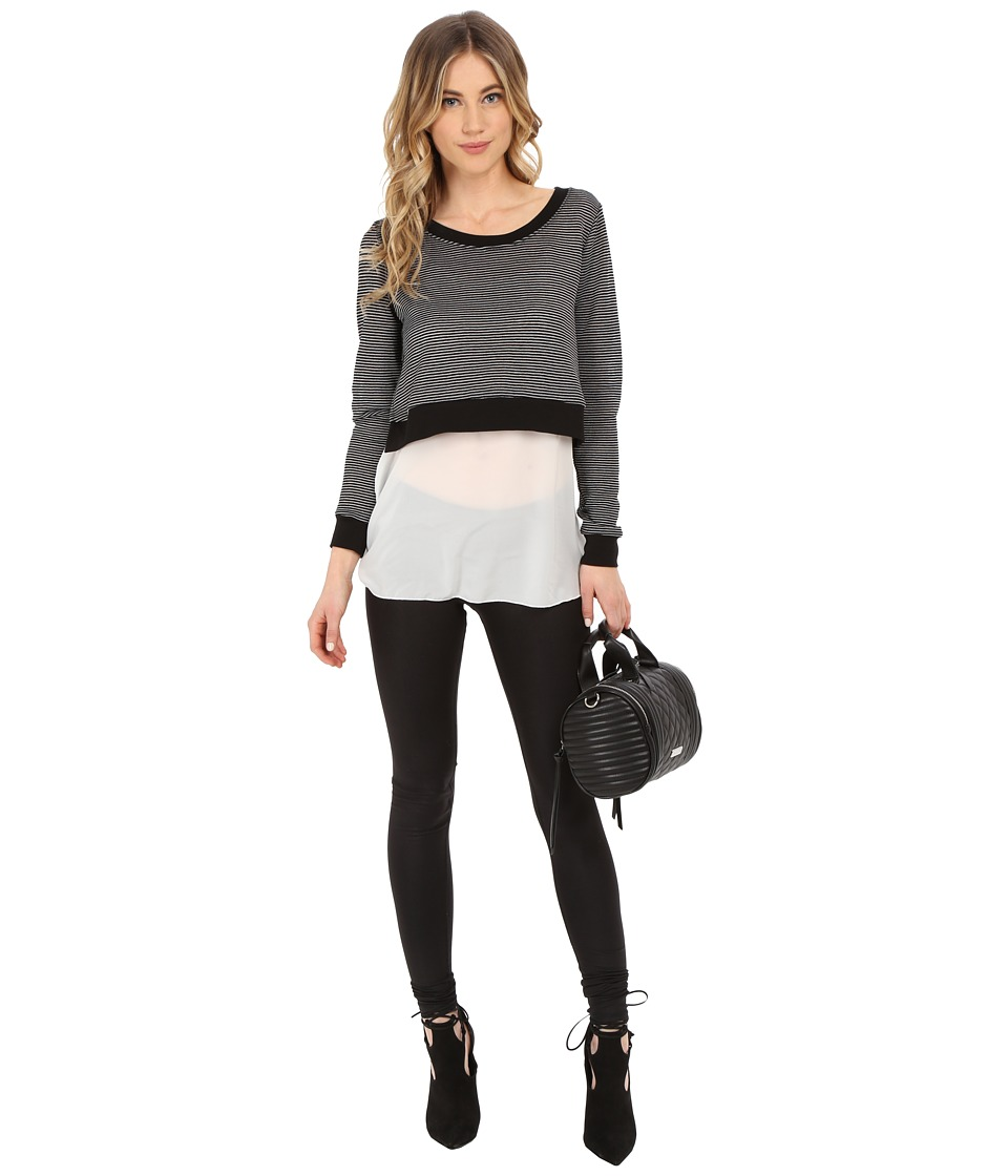 ONLY - Sally Long Sleeve Mix Media Top (Black) Women's Long Sleeve Pullover