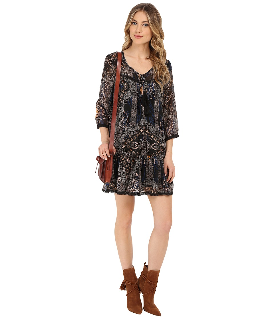 ONLY - Parki 3/4 Sleeves Printed Tunic (Black) Women's Dress