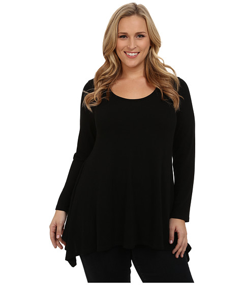 Karen Kane Plus - Long Sleeve Handkerchief Top (Black) Women's Blouse