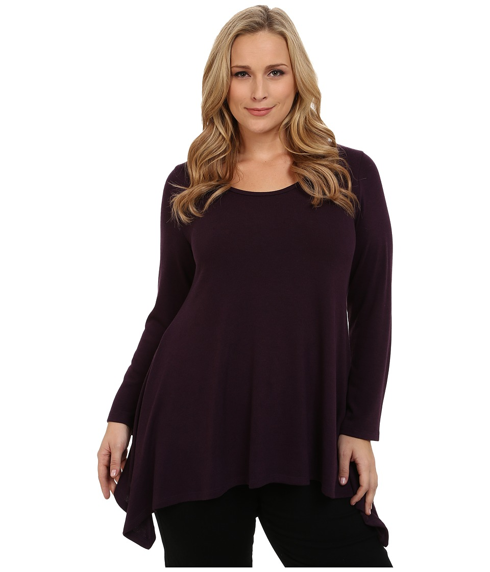 Karen Kane Plus - Long Sleeve Handkerchief Top (Eggplant) Women's Blouse