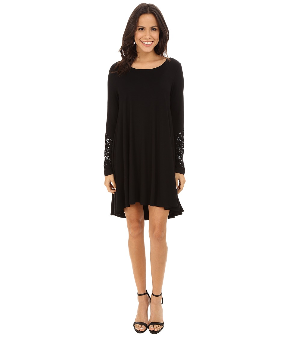 Karen Kane - Long Sleeve Embellished Cuff Swing Dress (Black) Women's Dress