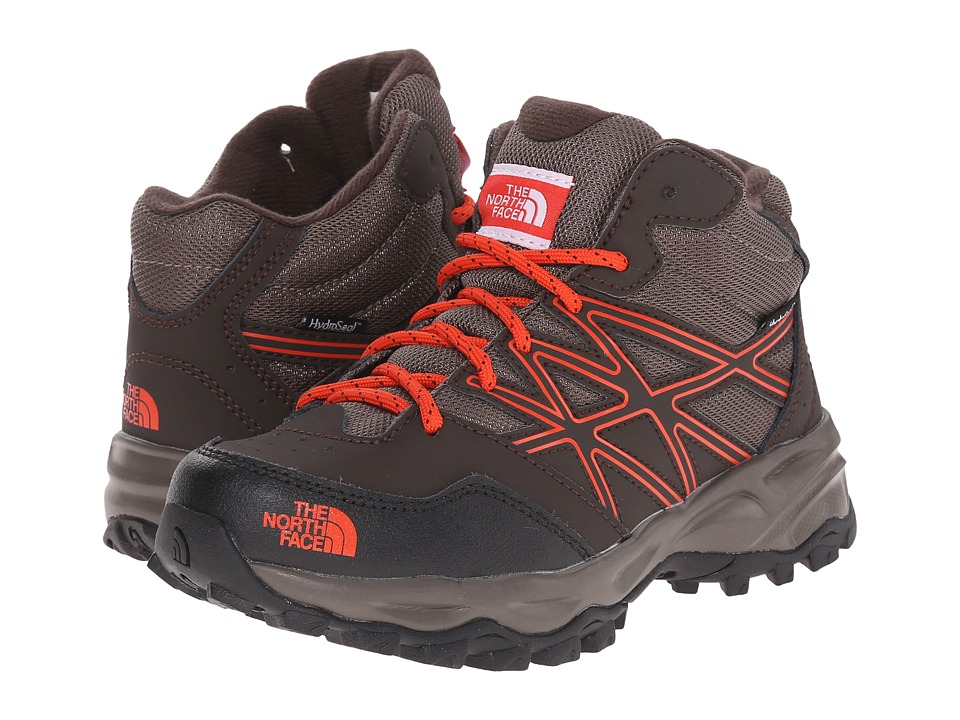 The North Face Kids - Jr Hedgehog Hiker Mid WP(Little Kid/Big Kid) (Coffee Brown/Valencia Orange) Boys Shoes