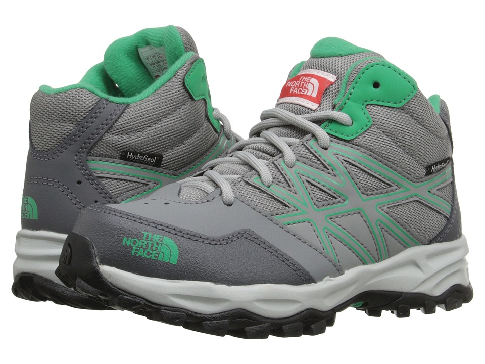 The North Face Kids - Jr Hedgehog Hiker Mid WP(Little Kid/Big Kid) (Griffin Grey/Blarney Green) Boys Shoes