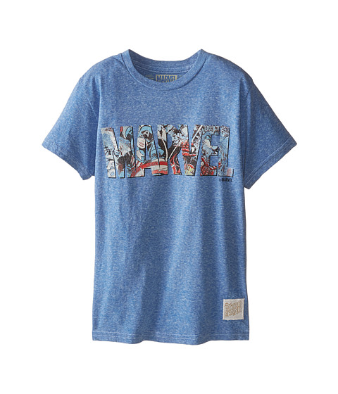 The Original Retro Brand Kids - Marvel Letters Short Sleeve Tee 2 (Big Kids) (Streaky Royal) Boy