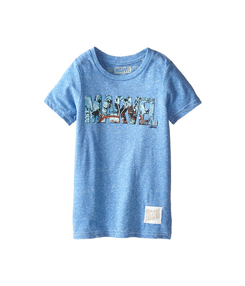 The Original Retro Brand Kids - Marvel Letters Short Sleeve Tee 2 (Little Kids/Big Kids) (Streaky Royal) Boy