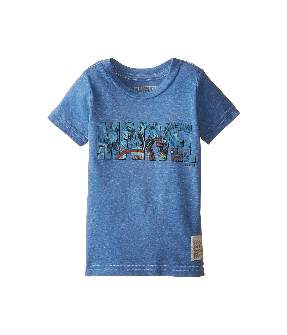 The Original Retro Brand Kids - Marvel Letters Short Sleeve Tee 2 (Toddler) (Streaky Royal) Boy
