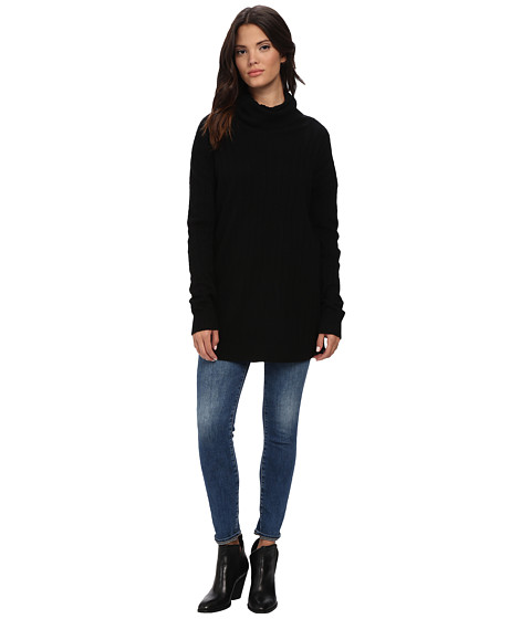 Three Dots - Funnel Neck Tunic (Black) Women
