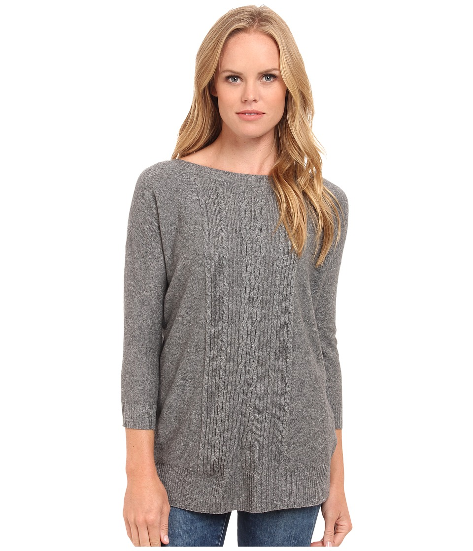 Three Dots - 3/4 Sleeve Boatneck (Granite) Women's Long Sleeve Pullover