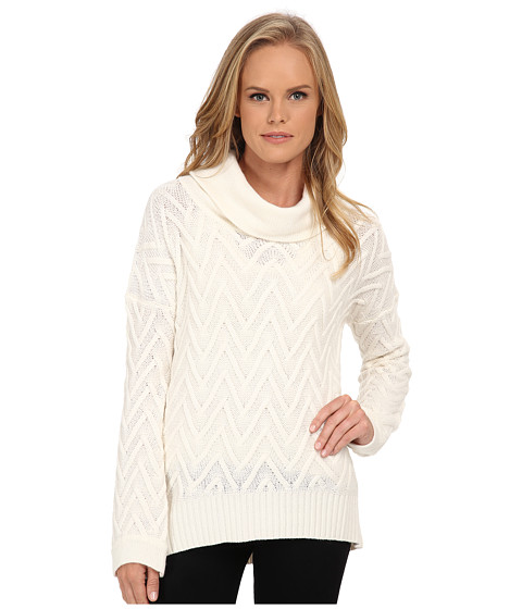 Three Dots - Long Sleeve Draped T-Neck Tunic (Gardenia) Women's Long Sleeve Pullover