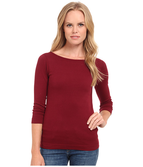 Three Dots - 3/4 Sleeve British Tee (Brick Stone) Women's Long Sleeve Pullover