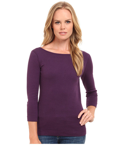 Three Dots - 3/4 Sleeve British Tee (Shadow Purple) Women