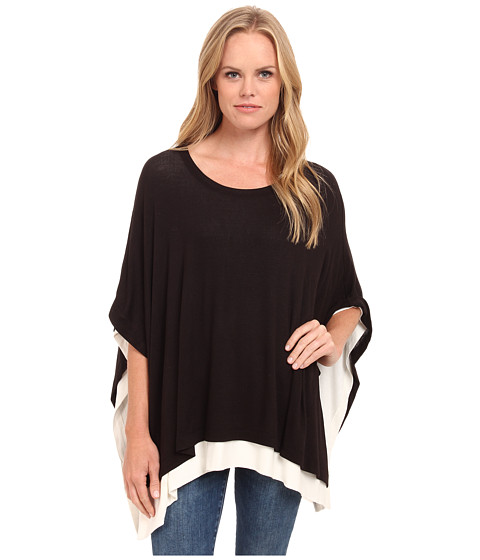 Three Dots - Poncho (Black/Gardenia) Women's Clothing