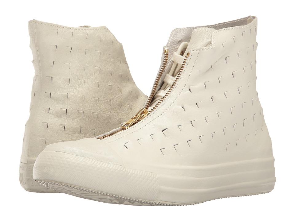 Converse - Chuck Taylor All Star Premium Leather Hi Shroud (Egret/Egret/Black) Women's Lace up casual Shoes