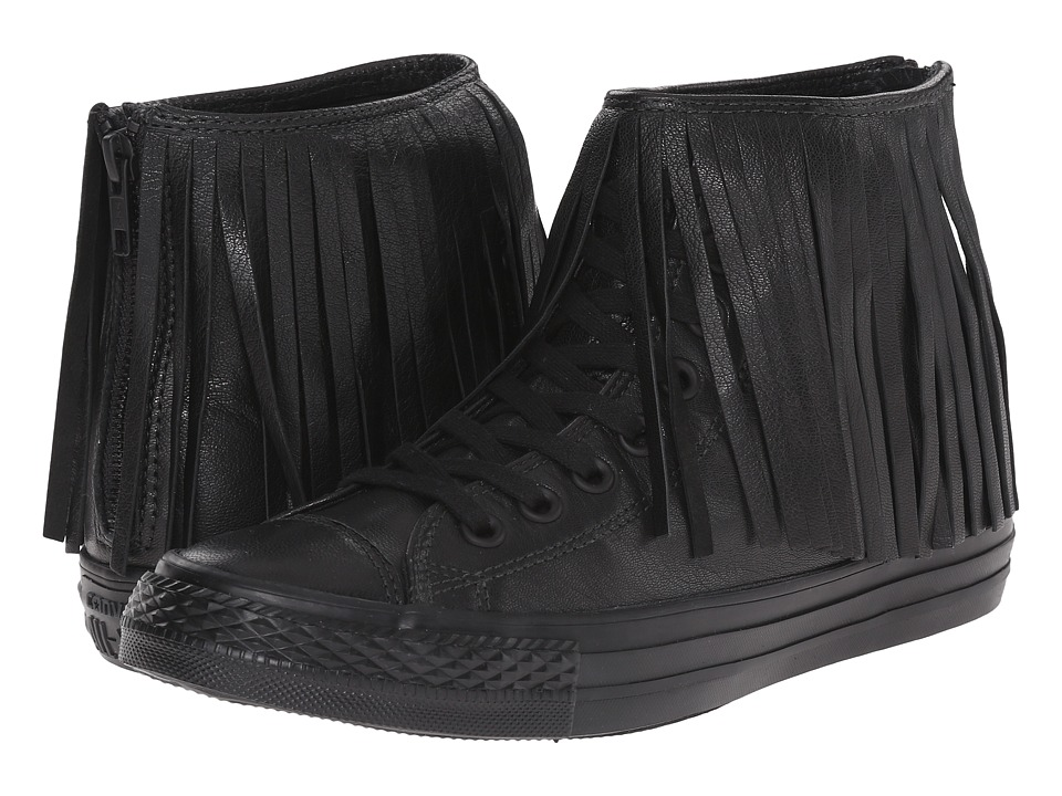 Converse - Chuck Taylor All Star Premium Leather Fringe (Black/Black/Black) Women's Lace up casual Shoes