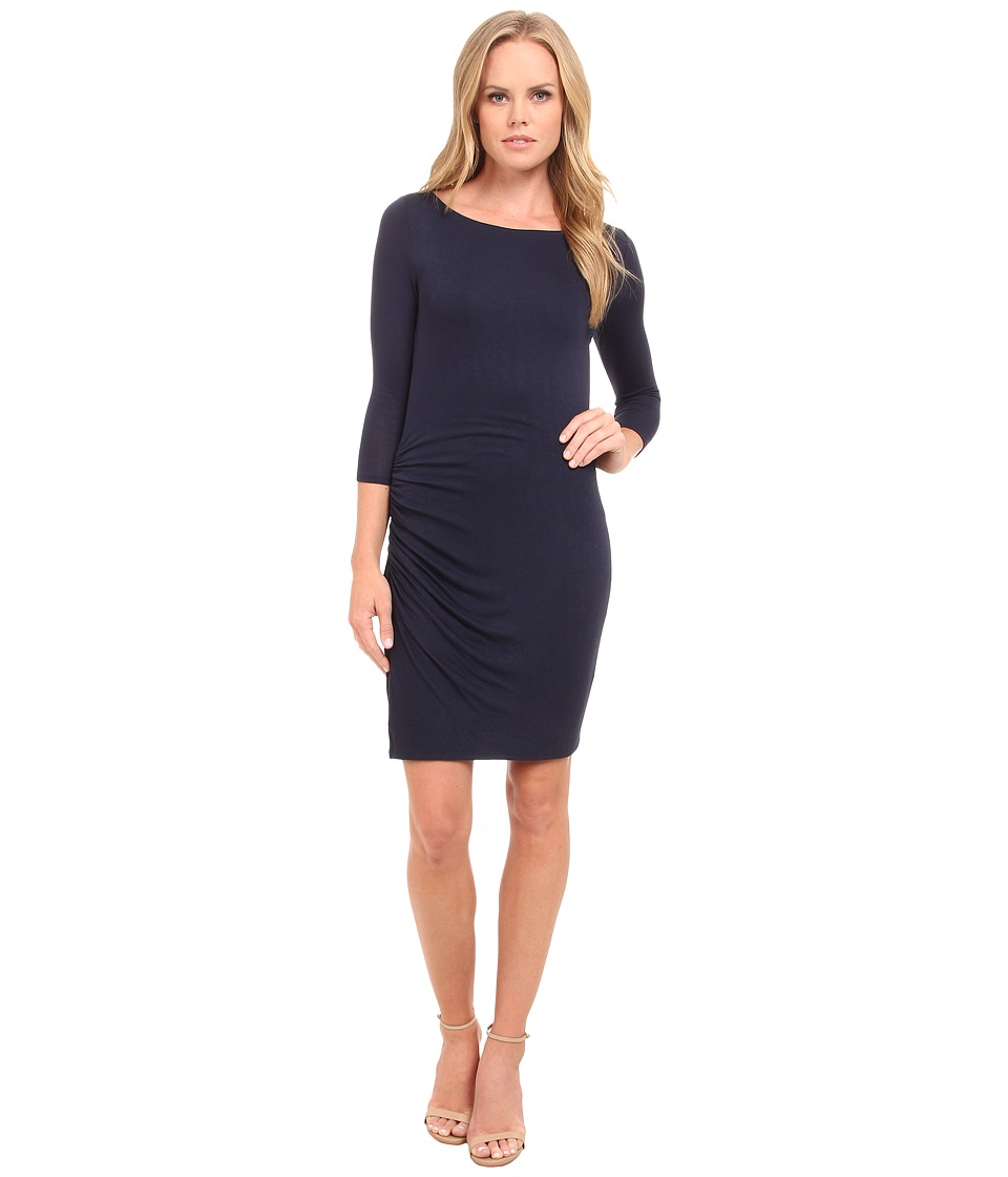 Three Dots - 3/4 Sleeve Asymmetrical Shirred Dress (Night Iris/Black) Women's Dress