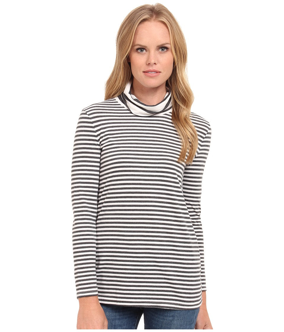Three Dots - Bracelet Sleeve Stripe Turtleneck (Gardenia) Women's T Shirt