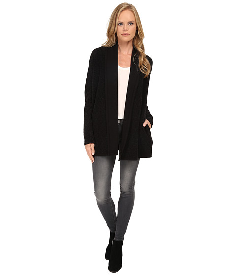 Three Dots - Drapefront Cardigan (Black) Women's Sweater
