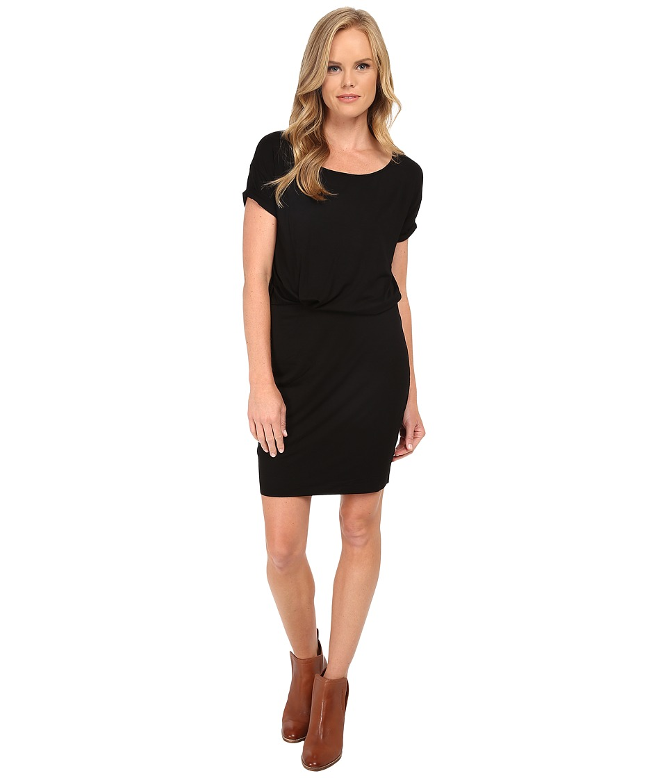 Three Dots Rolled Sleeve Tucked Dress (Black) Women