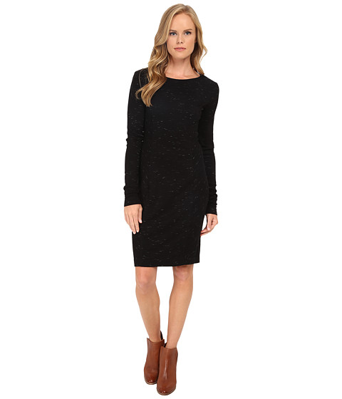 Three Dots - Ponte Long Sleeve Seamed Dress (Black) Women's Dress