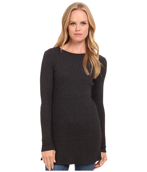 Three Dots - Long Sleeve Tunic (Charcoal) Women's Long Sleeve Pullover