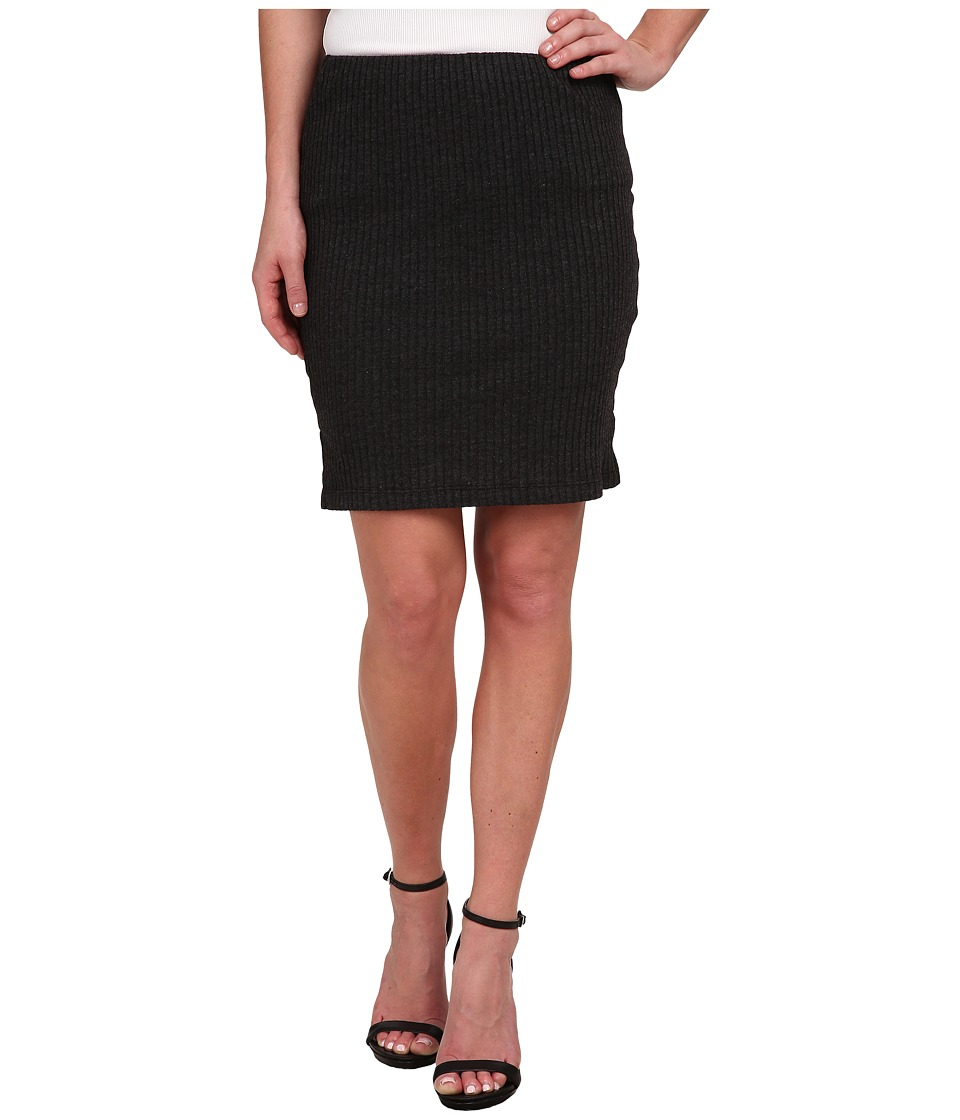 Three Dots - Ribbed Skirt (Charcoal) Women