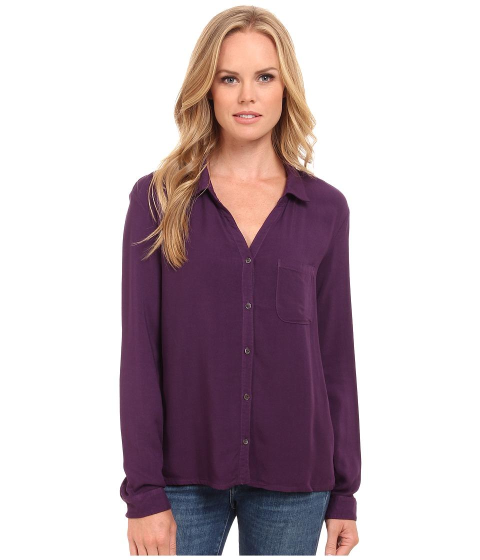 Three Dots - Long Sleeve Classic Shirt (Shadow Purple) Women
