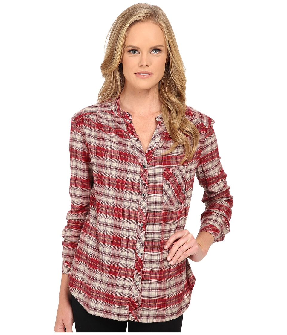 Three Dots - Long Sleeve Blouse w/ Pocket (Brick Stone) Women's Blouse