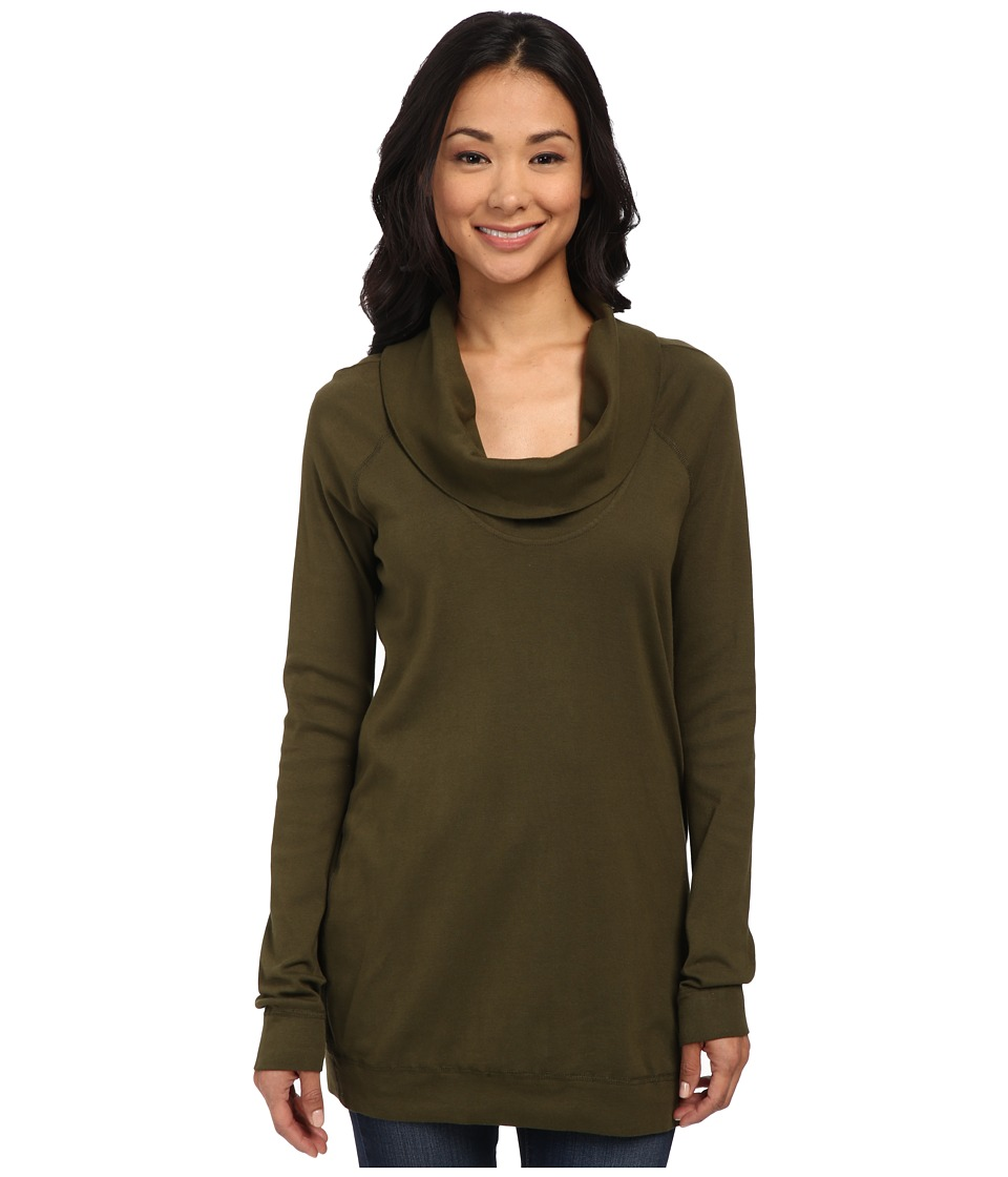Three Dots - Long Sleeve Funnel Neck Tunic (Palm Breeze) Women's Long Sleeve Pullover