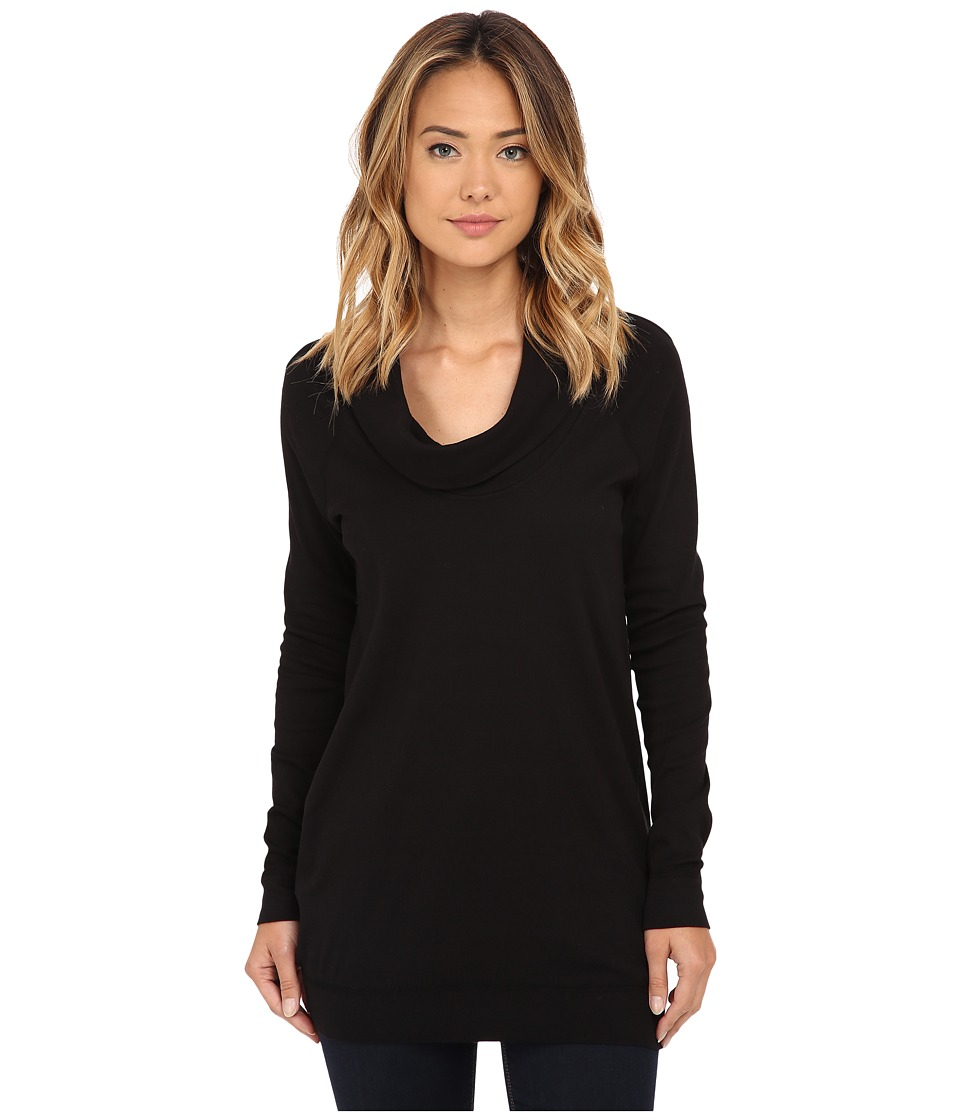 Three Dots - Long Sleeve Funnel Neck Tunic (Black) Women's Long Sleeve Pullover