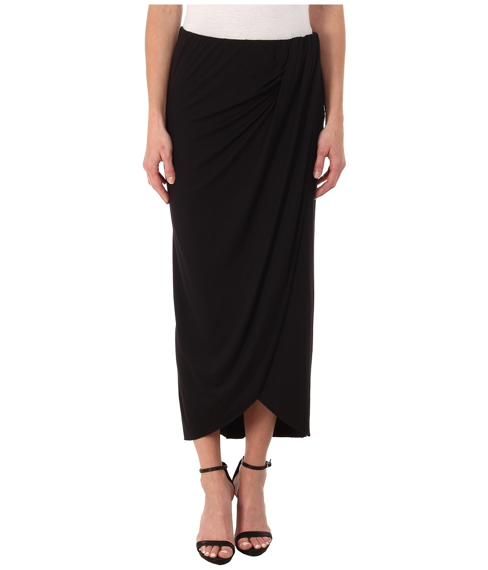 Three Dots - Pleated Drape Maxi Skirt (Black) Women's Skirt