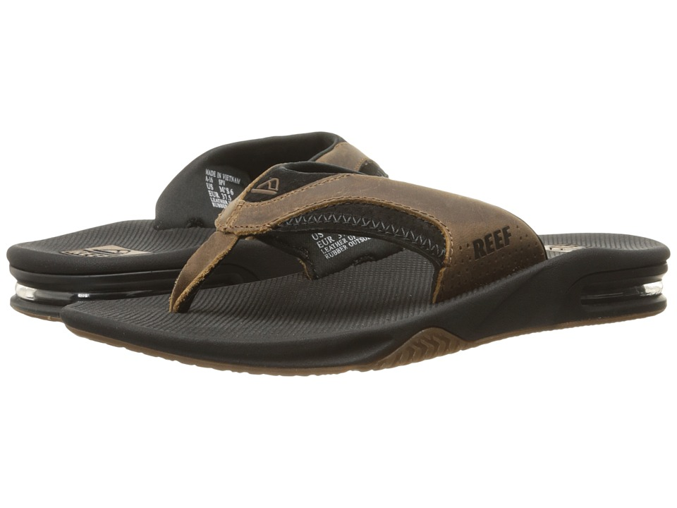Reef Fanning Leather (Black/Brown) Men