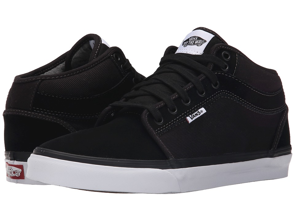 Vans - Chukka Mid Top ((Distortion) Black/White) Men's Skate Shoes