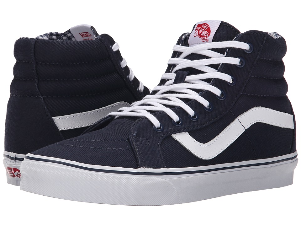 Vans SK8-Hi Reissue ((Twill & Gingham) Dress Blues/True White) Skate Shoes