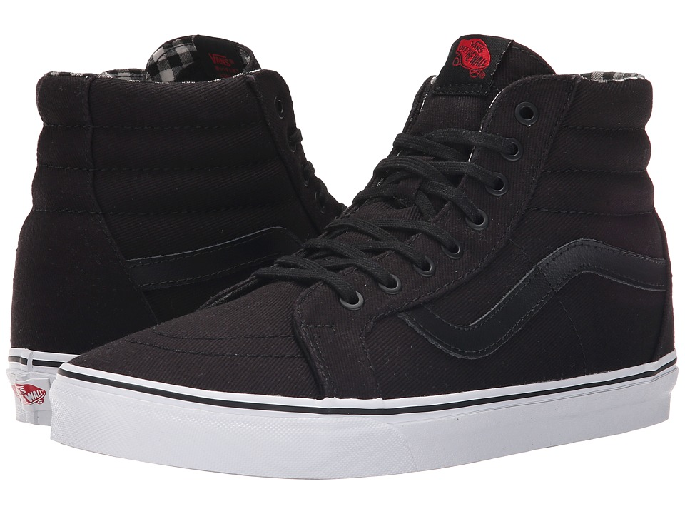Vans SK8-Hi Reissue ((Twill & Gingham) Black/True White) Skate Shoes
