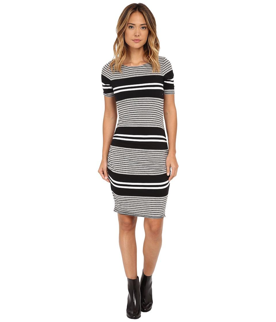 Three Dots - Short Sleeve Rouched Dress (Black) Women's Dress