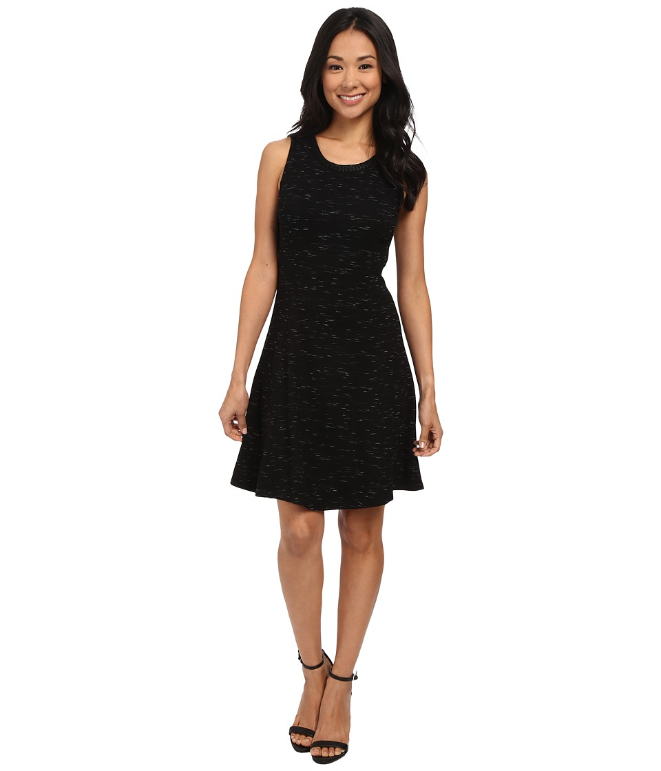 Three Dots Fit Flare Dress (Black) Women