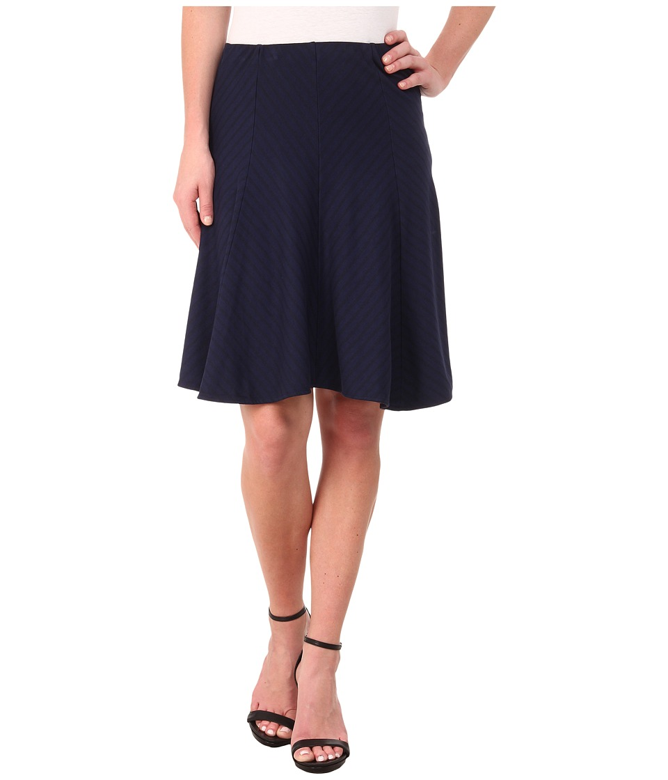 Three Dots - Stripe Ponte Seamed Skirt (Night Iris) Women's Skirt