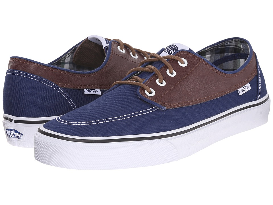 Vans - Brigata ((Leather/Plaid) Estate Blue/Potting Soil) Skate Shoes